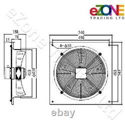 Industrial Wall Mounted Extractor Fan 16 Commercial Ventilation +Speed Control