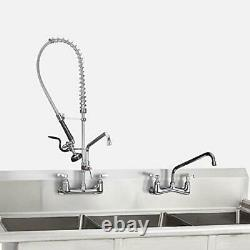 JZBRAIN Commercial Sink Kitchen Faucet 8 Inch Center Wall Mount Faucet 36 Inc