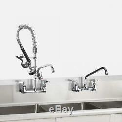 JZBRAIN Commercial Wall Mount Kitchen Sink Faucet Pull Down Spray Swing Spout