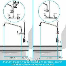 JZBRAIN Commercial Wall Mount Kitchen Sink Faucet with Pull Down Pre-Rinse Sp