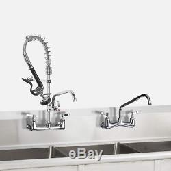JZBRAIN Commercial Wall Mount Kitchen Sink Faucet with Pull Down Pre-rinse Spray