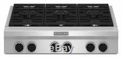 KitchenAid KGCU467VSS 36 Commercial Gas 6-Burner Cooktop & Range Hood