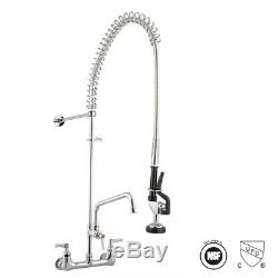 Kitchen Pull-Down Pre-Rinse Faucet Commercial Style Sprayer 2 Handle Wall Mount