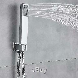 LED Bathroom 16 Rainfall Shower Faucet Wall Mount Faucet System Combo Mixer Tap