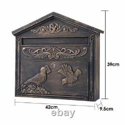Locking Wall Mounted Mailbox Antique Vintage Mail Box Post Outdoor Decor Steel