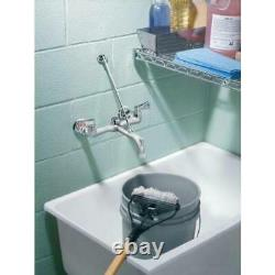 MOEN Service Faucet Utility Commercial 2 Handle Two Hole Wall Mount Chrome New