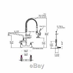 MSTJRY Wall Mount Kitchen Faucet Commercial Coiled Spring Pre Rinse Sprayer