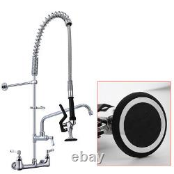 MaxSen 8 Inch Center Wall Mount Commercial Kitchen Faucet for 3 Compartment Sink