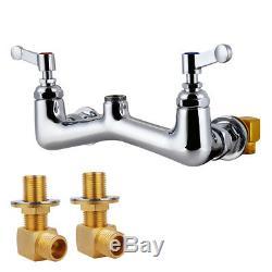 MaxSen Commercial Wall Mount Kitchen Sink Faucet 8 Center Pre-rinse Spray Gun