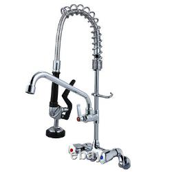 MaxSen Wall Mount Adjustable Center Commercial Pre Rinse Faucet 25 Height