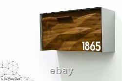 Modern Mailbox, Solid Iroko 3D Wood Face, Brushed Silver Aluminum Body, Type 3