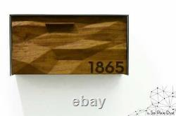 Modern Mailbox, Solid Iroko 3D Wood Face, Metallic Gray Aluminum Body, Type 3