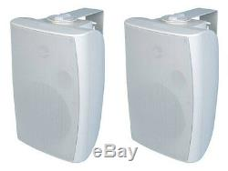 NEW (2) 6.5 Indoor Outdoor 70v White Speakers. Wall Mount Pair. Commercial Sound