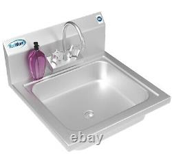 NSF Stainless Steel Wall Mount Commercial Hand Sink 17 x 15 Hand Wash Sink