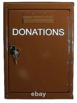 Outdoor Donation Box with Lock and Rain Flap, Collection Box