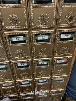 P. O Box Mailboxes ornate design, glass front view 30 small slots, (No Keys)