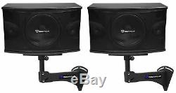 Pair Rockville KPS10 10 1200w Speakers withWall Mounts For Restaurant/Bar/Cafe