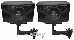 Pair Rockville KPS12 12 1600w Speakers withWall Mounts For Restaurant/Bar/Cafe