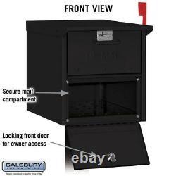 Post-mount roadside mailbox black salsbury industries large aluminum locking