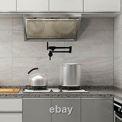 Pot Filler Faucet Black Commercial Wall Mount Brass Faucet Kitchen Matte Black