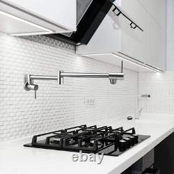 Pot Filler double Faucet Stainless Steel Commercial Wall Mount Kitchen Sink bras