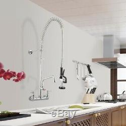 Pre-Rinse Swivel Spout Sink Faucet 12 Pull-Down Faucet Commercial Wall Mount