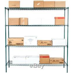 Regency Heavy Duty Commercial Green Epoxy Wire Storage Shelf Rack Kit 74 Posts