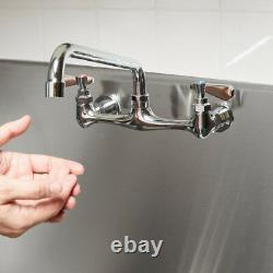 Regency Low Lead Wall Mount Commercial Sink Faucet 8 Centers with 12 Swing Spout