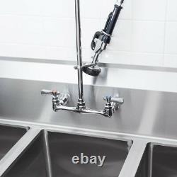 Regency Wall Mount Pre-Rinse Faucet 8 Centers Commercial 3 Compartment Sink NSF