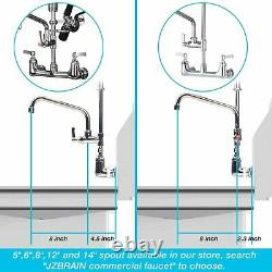 Sink Faucet Wall Mount Commercial Kitchen 1.42GPM Sprayer Add-on Swing Spout