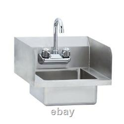 Stainless Steel Commercial Wall Mounted Hand Sink with Side Splash 14 x 16