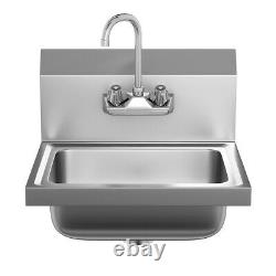 Stainless Steel Wall Mount Hand Washing Sink Basin Commercial Durable WithFaucet