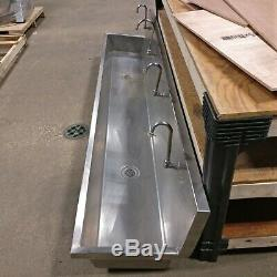 Used Elkay Commercial Stainless Steel 4 Faucet 2 Drain Wall Mount Sink
