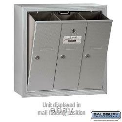 Vertical Mailbox Parcel Locker Aluminum Surface-Mounted USPS Access Gray 3-Door