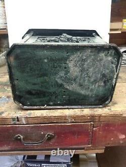 Vintage Post Mount Locking Mailbox Cast Iron Letter Box Horse Rider HEAVY