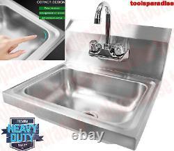 WALL Mounted Large STAINLESS STEEL Restaurant HAND Washing SINK Gooseneck Faucet