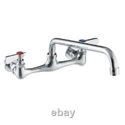 Wall Mount Commercial Kitchen Clean Sink Faucet 8 Centers 12 Swing Long Spout