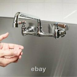 Wall Mount Commercial Kitchen Compartment Swing Spout Sink Faucet 8 Center 12