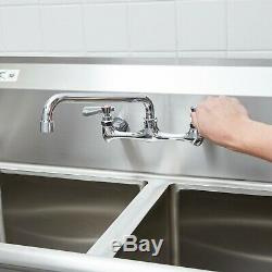 Wall Mount Commercial Sink Faucet 8 Centers 12 Swing Spout 1 2 3 Compartment