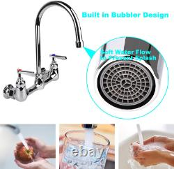 Wall Mount Faucet 8 Inch Center Commercial Kitchen Sink Faucet new