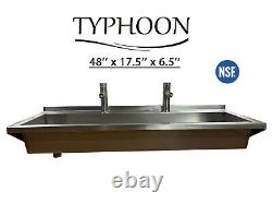 Wall Mount Hand Sink, Stainless Steel, 16 Gauge, Commercial Grade, Sink, Faucets