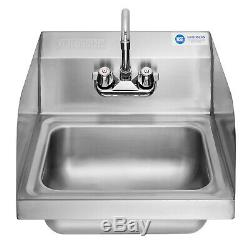 Wall Mount Hand Wash Sink Commercial Kitchen Stainless Steel w Side Splashes
