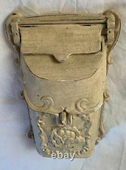 Wall Mount Mail Box Solid Metal Cast Iron Top Flip and Front Lock Vintage Used