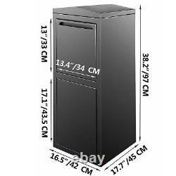 Wall Mount Mailbox Drop Box Steel Extra Large Mailbox With Lock and Key, Black