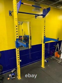 Wall Mounted Commercial Gym Squat/Press Rack With Safety Bars and J Hooks