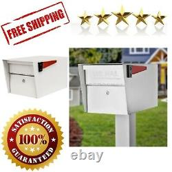 White Locking Mailbox Curbside Mail Manager Security Commercial Residential