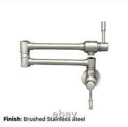 Whitehaus Waterhaus Wall Mount Pot Filler Brushed Stainless Commercial NEW