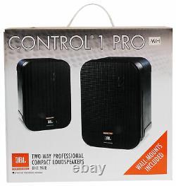 (2) Jbl C1pro-wh Control 1 Pro White 5,25 Support Mural Haut-parleurs Maison/commercial