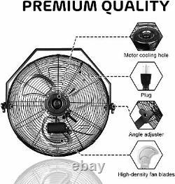 2pcs 18'' Industrial Wall Mount Fan 3 Speed Commercial Ventilation Fan For Patio