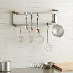 36 De Cuisine En Acier Inoxydable Commercial Montage Mural Double Pan Pot Rack 18 Crochets